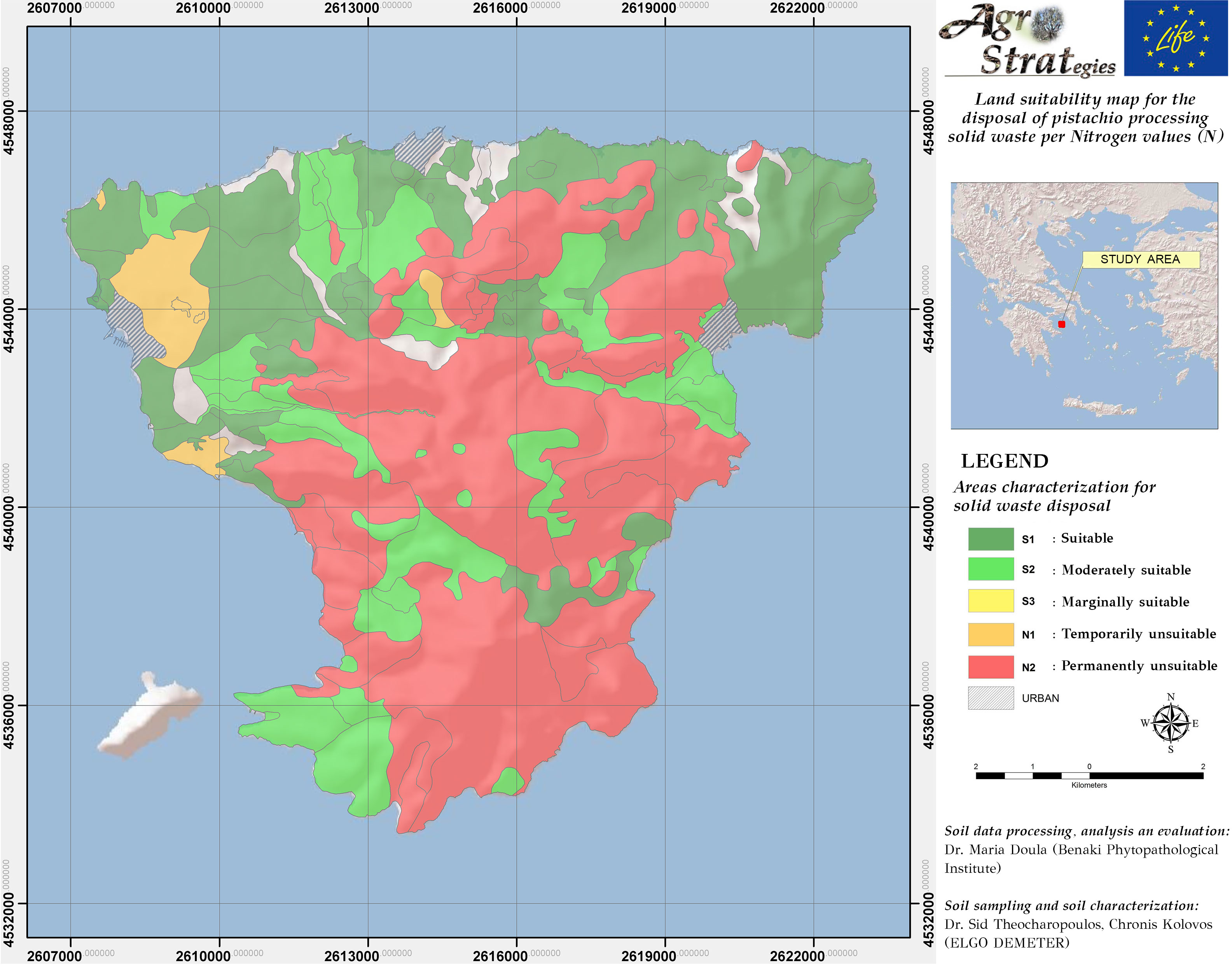 Land Suitability Maps for the distribution of solid pistachio wastes