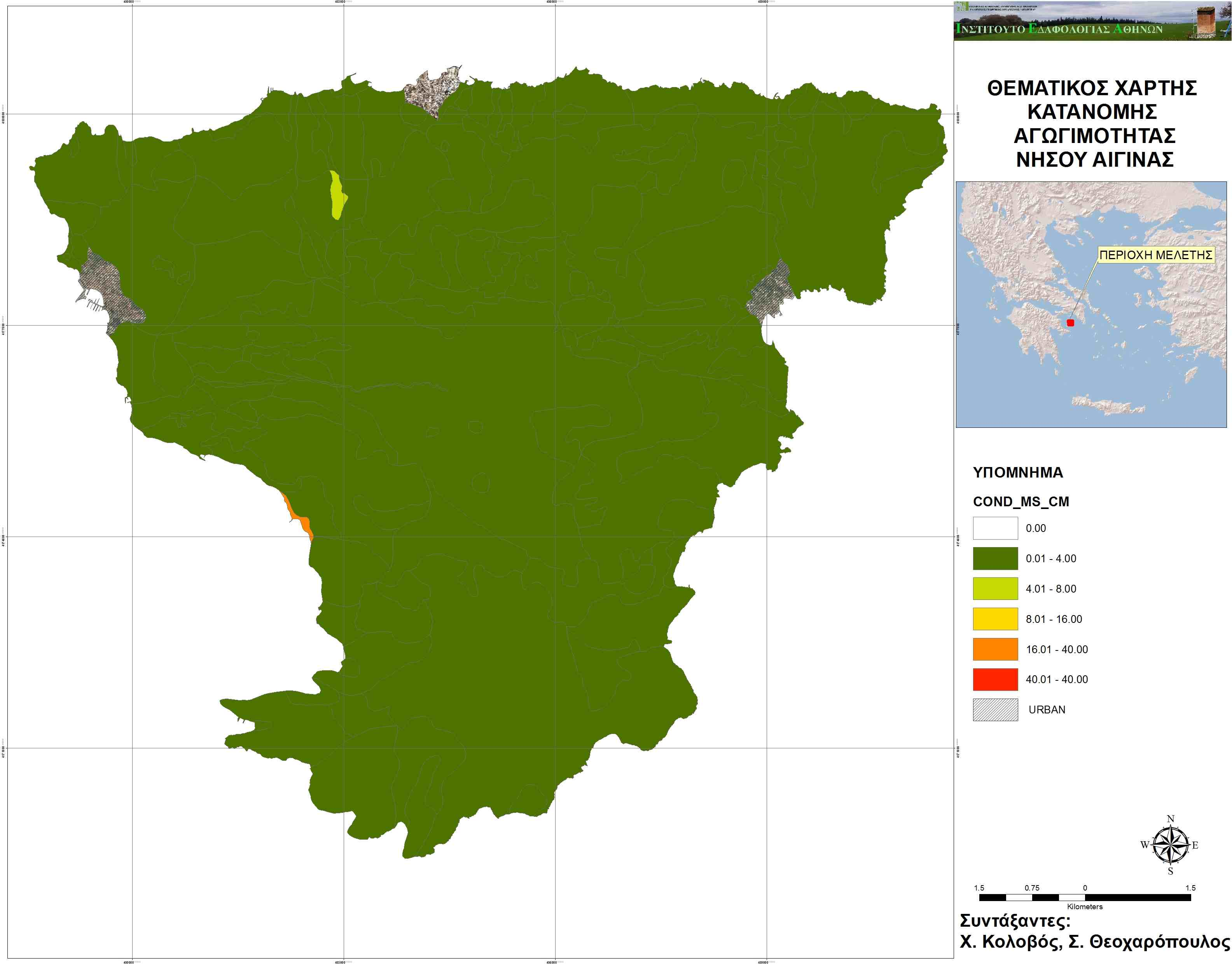 Soil Water Thematic and General Maps of Aegina island AgroStrat